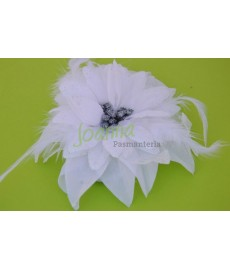 Kwiat z broszką CKB6 biały opalizujący