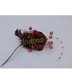Kwiat z broszką CKB1 brązowy