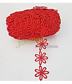 Aplikacja wz. 103 kwiatki ażur czerwone