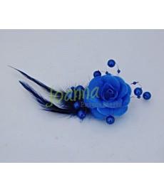 Kwiat z broszką CKB1 niebieski