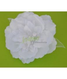 Kwiat z broszką CKB6 biały z perełką
