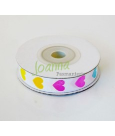 Tasiemka rypsowa Kolorowe serca 12mm/10m