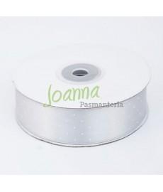 Tasiemka satynowa, srebrny  25mm/25mk