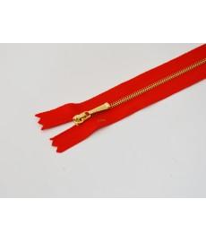 Zamek ozd.metal żmijka 16cm czerwony