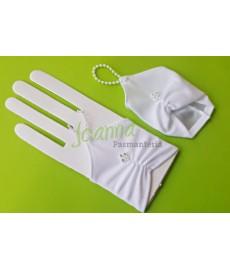 Rękawiczki komunijne z cyrkonią